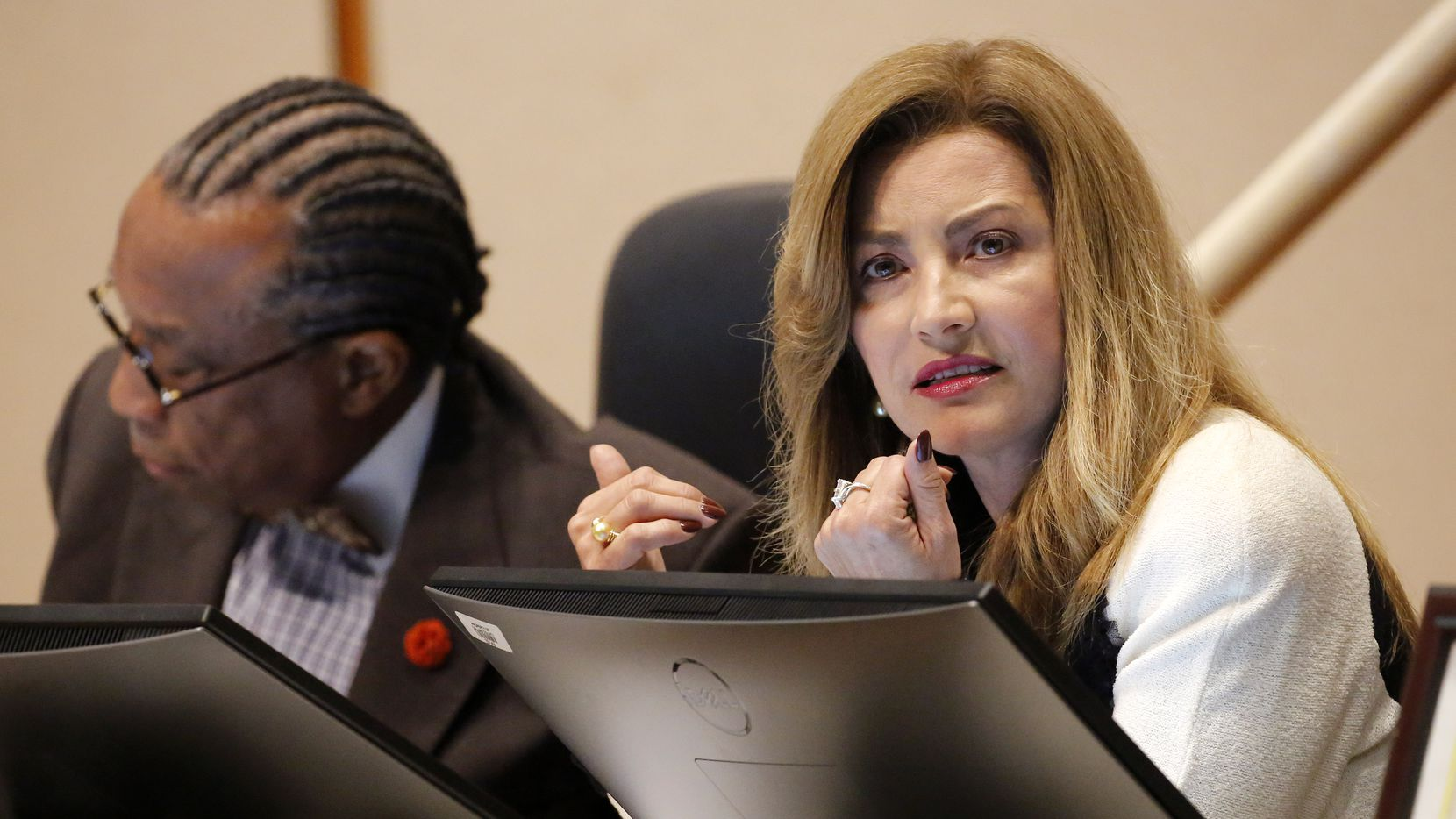 Dallas County Commissioner Elba Garcia, who represents mostly western Dallas County at a February 2020 meeting. (Tom Fox/The Dallas Morning News)