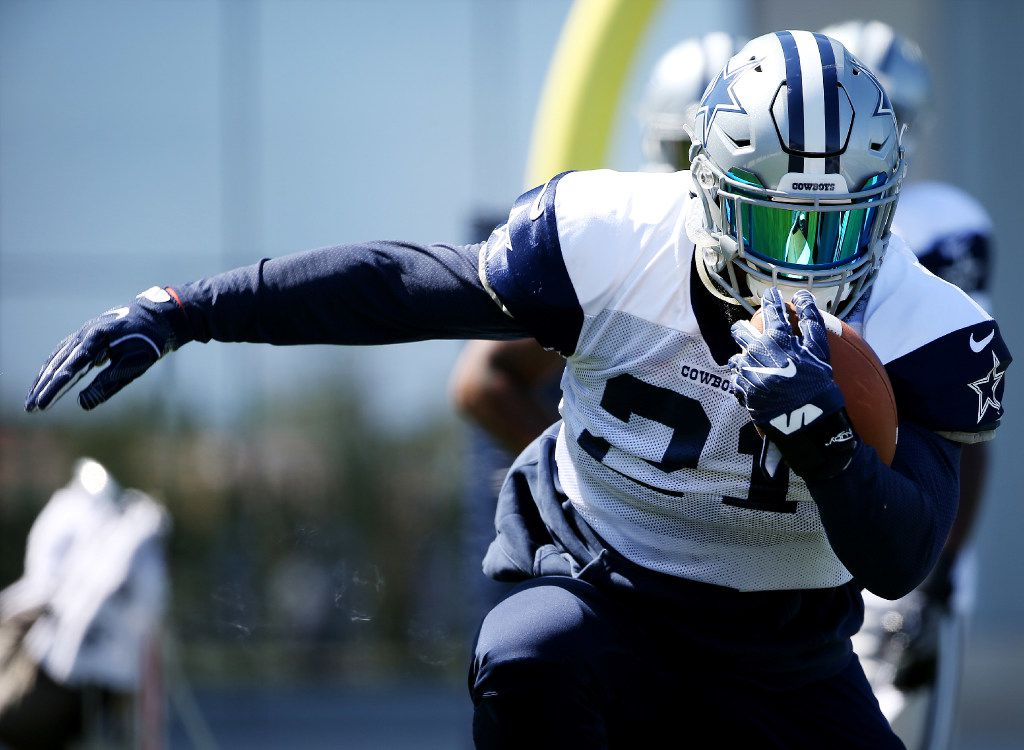 Dallas Cowboys running back Ezekiel Elliott participates in practice at The Star in Frisco, Texas Wednesday September 6, 2017. (Andy Jacobsohn/The Dallas Morning News)