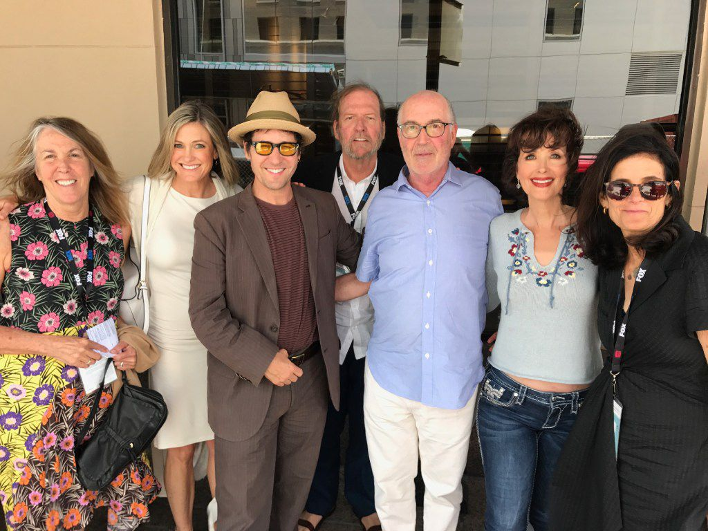 Talking Northern Exposure at Austin's ATX Television Festival were (left to right) writer Robin Green, actors Cynthia Geary and Rob Morrow, writer Mitchell Burgess, creator Joshua Brand, actor Janine Turner, producer Cheryl Bloch.