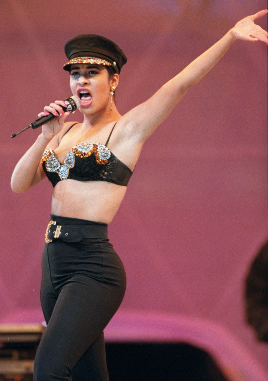 Selena in 1993, performing at the Astrodome.