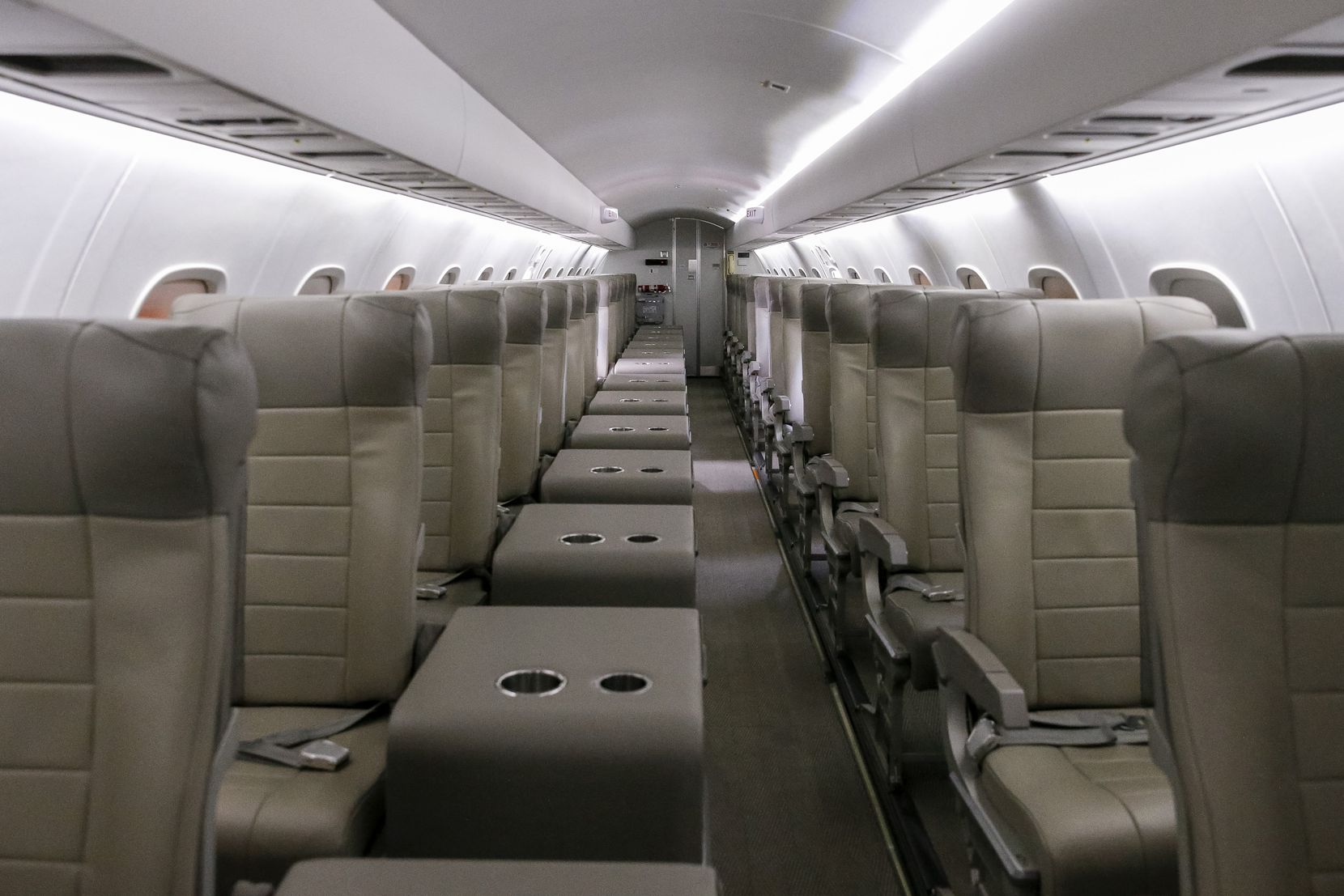 The interior of a JSX jet at the Signature Flight Support at Dallas Love Field.