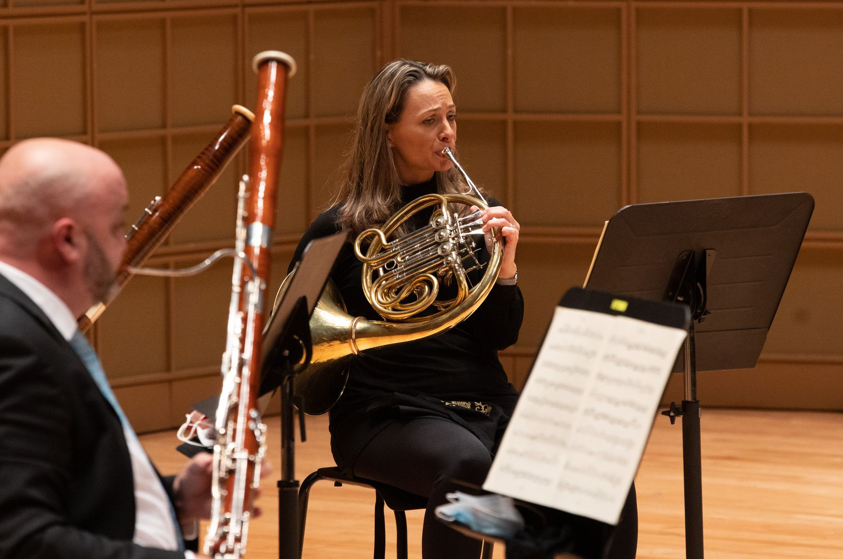 Haley Hoops is pictured during a Dallas Symphony Orchestra performance of the Mozart Serenade in C minor, K. 388 for wind octet, part of their 2020 Summer Chamber Music series at the Morton H. Meyerson Symphony Center in Dallas, June 13, 2020.