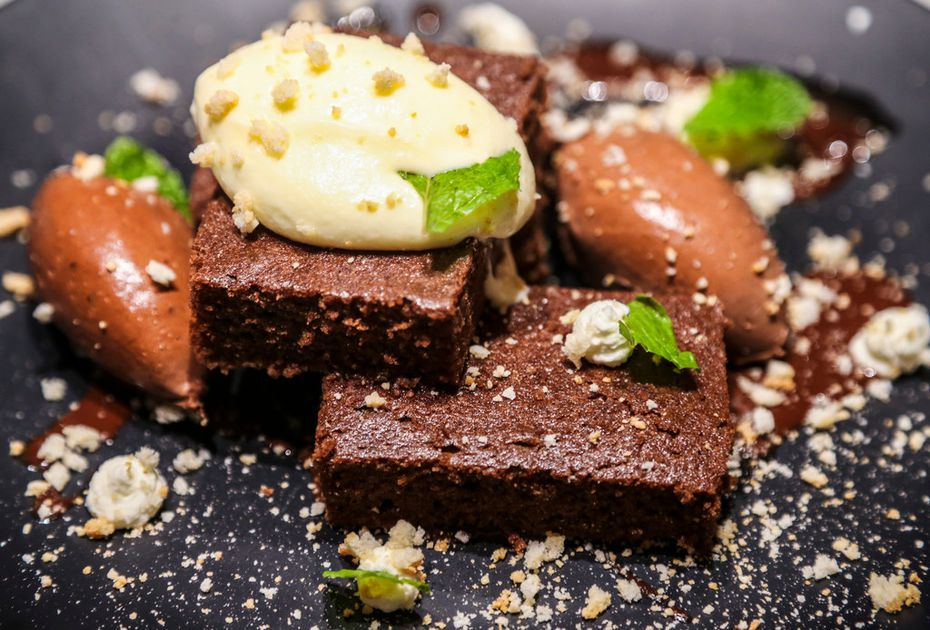 Felix Culpa's chocolate dessert is a chocolate-cinnamon sheet cake that sits atop espresso dark chocolate ganache. On the sides are dark chocolate mousse, mascarpone cream and crumbled amaretto cookies.