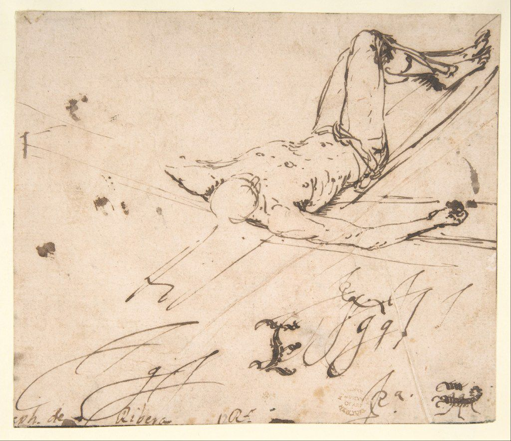 Jusepe de Ribera (Spanish, 1591–1652), Study for a Crucifixion of Saint Peter, mid-1620s. Pen and brown ink. The Metropolitan Museum of Art, New York. Rogers Fund, 1919, 19.150.  Between Heaven and Hell: The Drawings of Jusepe de Ribera March 12 – June 11, 2017