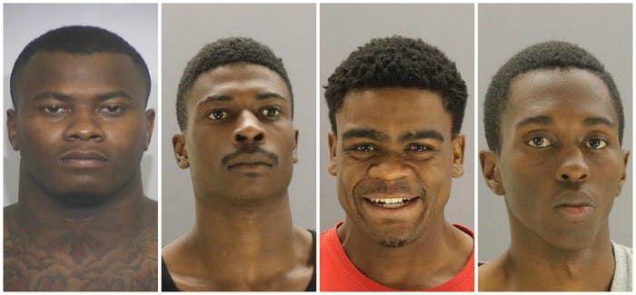 Desde la izq: Darius Fields, Desmond Jones, Laquon Wilkerson y  Devontae Owens, acusados por el asesinato de una niña de 13 años.