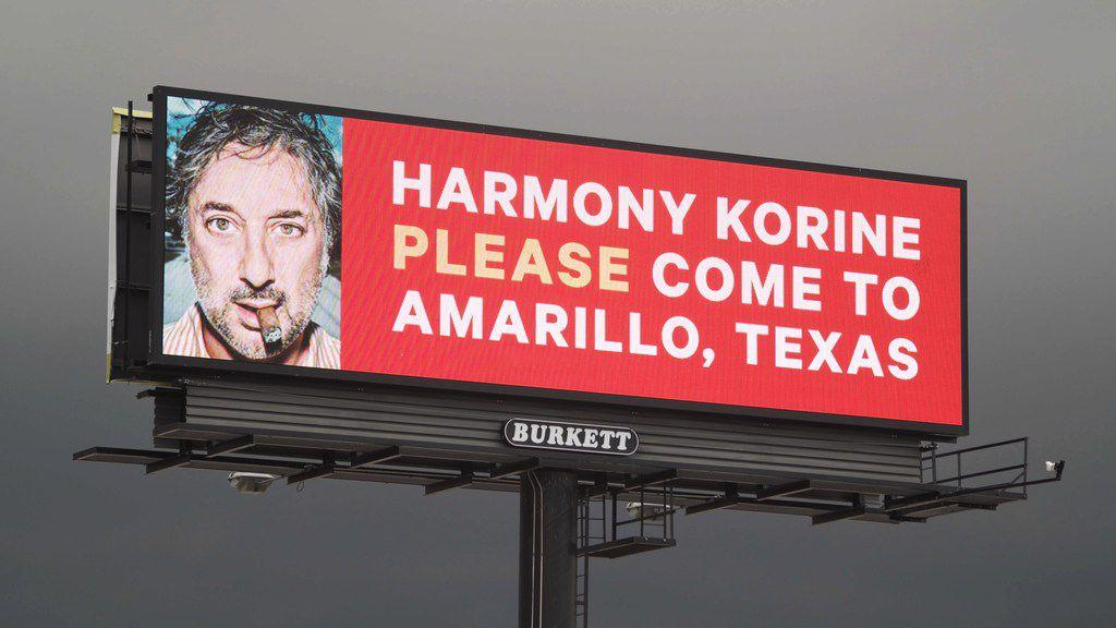 Amarillo resident Hayden Pedigo recently put up billboards around town asking Hollywood director Harmony Korine to come visit.