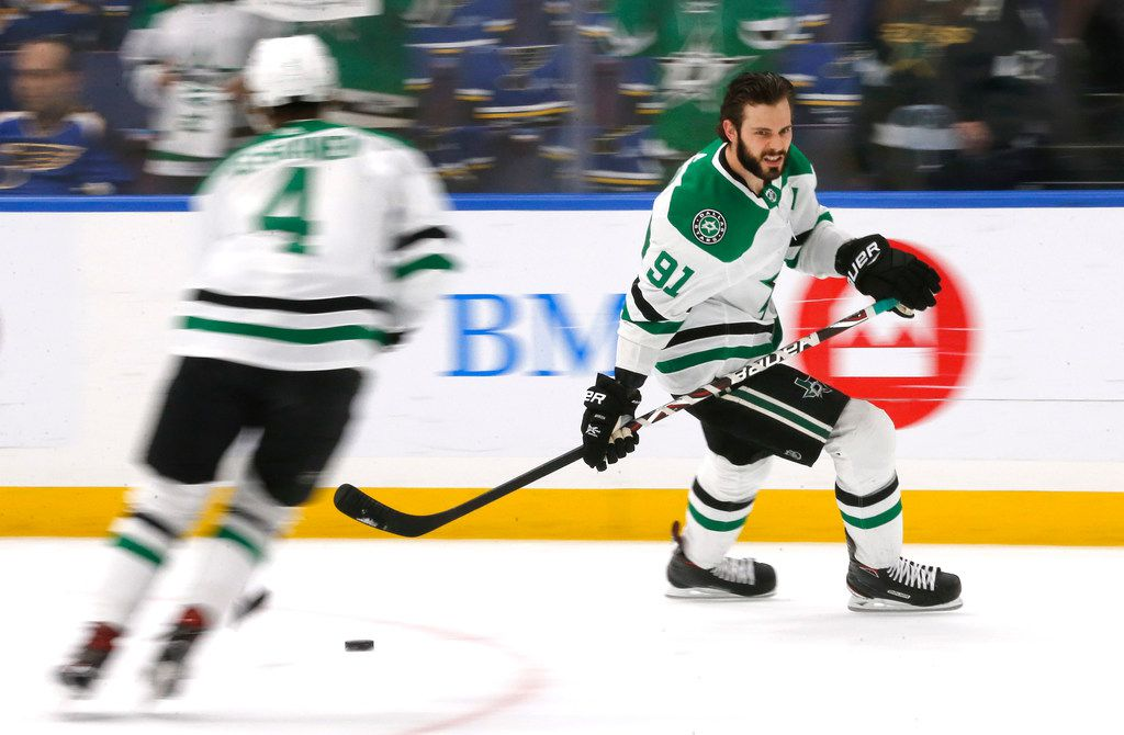 Dallas Stars center Tyler Seguin (91) skates during warmups before their game against the St. Louis Blues at the Enterprise Center in St. Louis, Tuesday, May 7, 2019.
