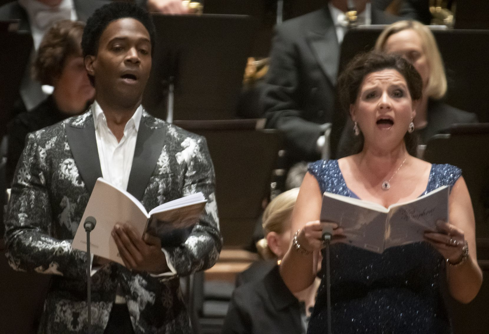 """Baritone Nmon Ford and soprano Sarah Fox perform Symphony No. 1, """"A Sea Symphony"""" by Ralph Vaughan Williams with guest conductor Robert Spano, the Dallas Symphony Orchestra and Chorus at the Meyerson Symphony Center in Dallas, Texas on October 25, 2019."""