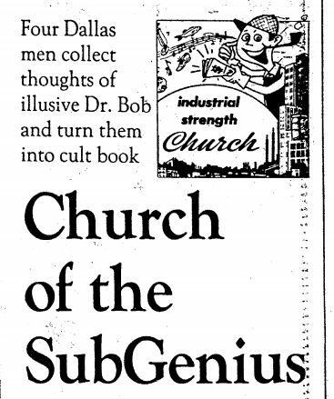 Snip from the article of August 31, 1983 about four Dallas men writing about the Church of SubGenius.