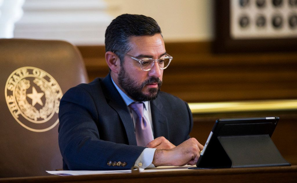 Representative Cesar Blanco sits at his desk on the second day of the 86th Texas legislature on Wednesday, January 9, 2019 at the Texas state Capitol, in Austin, Texas.