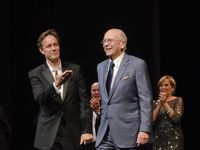 "Composer Jake Heggie, director Jack O'Brien, playwright Terrence McNally and mezzo-soprano Frederica von Stade during a curtain call for ""Great Scott,"" which premiered at the Dallas Opera in 2015."
