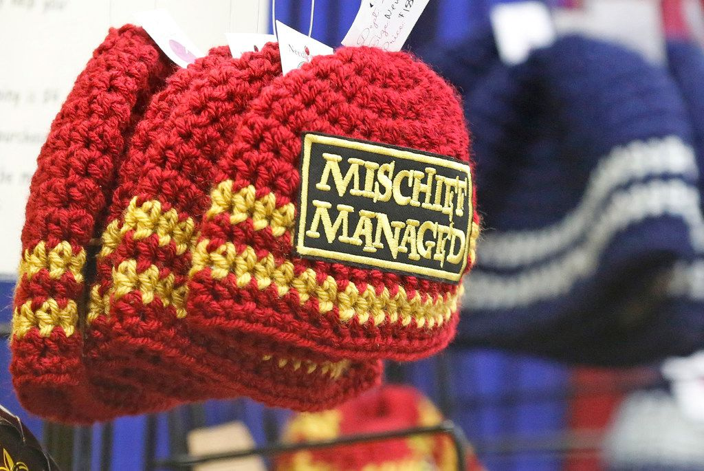 Knitted hats were a popular item for sale at LeakyCon.