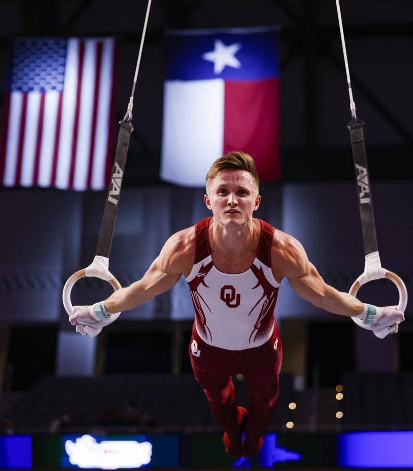 Allan Bower performs on the rings during Day 1 of the US gymnastics championships on Thursday, June 3, 2021, at Dickies Arena in Fort Worth. (Juan Figueroa/The Dallas Morning News)