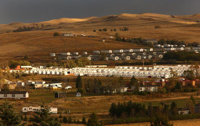 Temporary worker housing sprawled across the prairie in 2011 at Watford City, N.D.