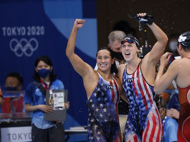 USA's Katie Ledecky and Erica Sullivan celebrate after winning a gold medal in the women's 1500 meter freestyle final at the postponed 2020 Tokyo Olympics at the Tokyo Aquatics Centre on Wednesday, July 28, 2021, in Tokyo, Japan.
