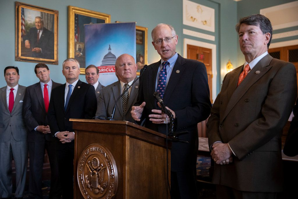 House Agriculture Committee Chairman Mike Conaway, R-Texas, and other Republican members of the panel announces the new farm bill, officially known as the 2018 Agriculture and Nutrition Act, at a news conference on Capitol Hill in Washington, Thursday, April 12, 2018. From left are Rep. David Rouzer R-N.C., Rep. Jodey Arrington, R-Texas, Rep. James Comer, R-Ky., Rep. Scott DesJarlais, R-Tenn., Vice Chairman Glenn Thompson, AP Photo/J. Scott Applewhite)