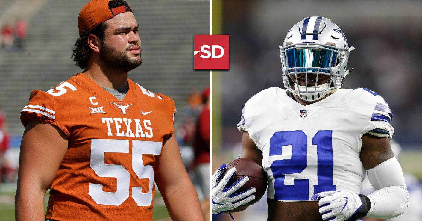 Cowboys rookie offensive lineman Connor Williams (left) and running back Ezekiel Elliott will work together to jumpstart the Dallas run game this year. Staff photos by Louis DeLuca, Vernon Bryant
