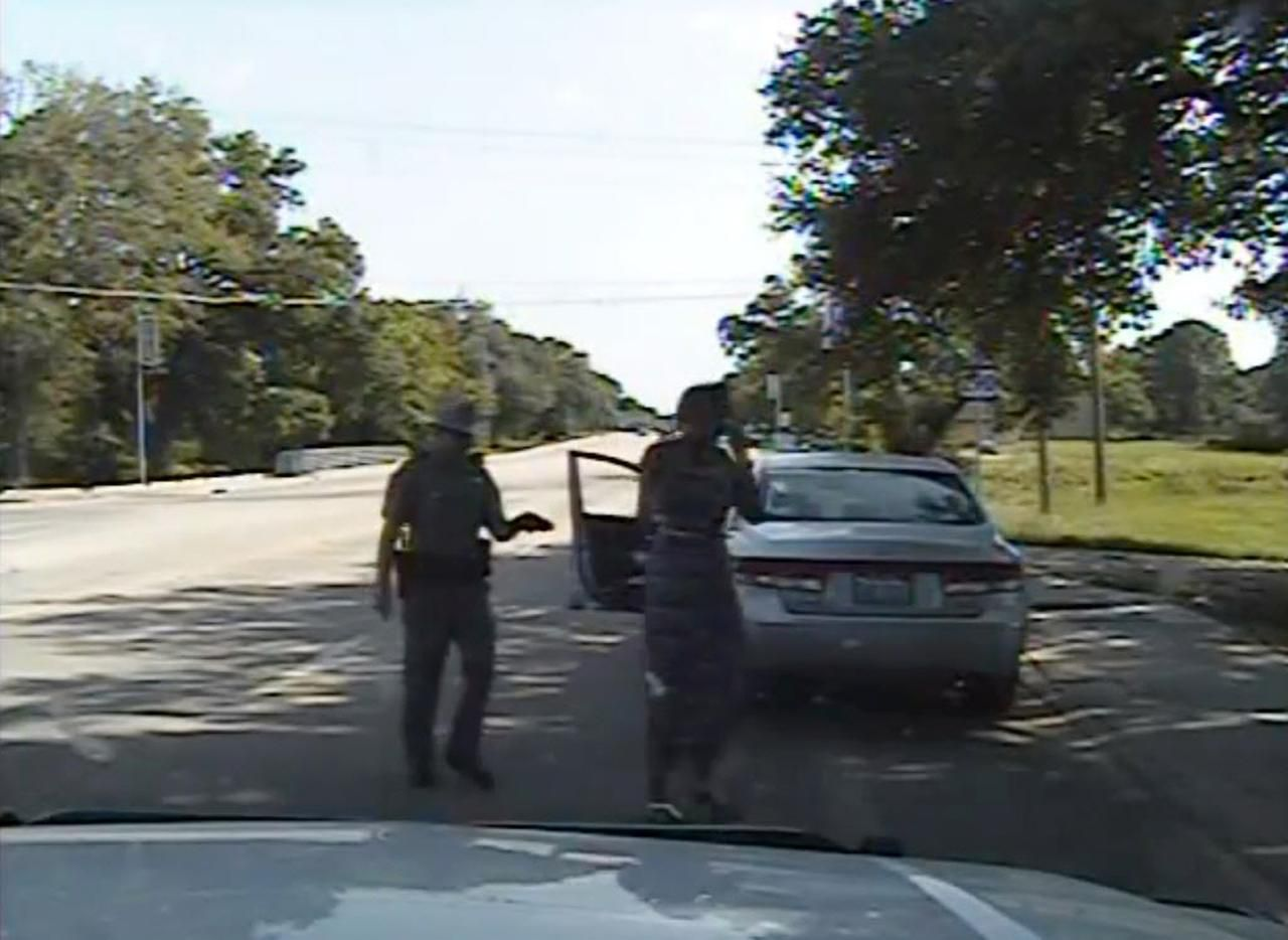 In this frame from dashcam video provided by the Texas Department of Public Safety, trooper Brian Encinia arrests Sandra Bland after a routine traffic stop.