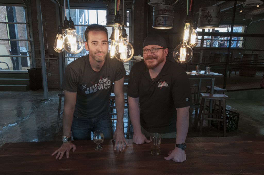 John Reardon, Deep Ellum Brewing Company's founder and chief evangelist, left, and Jeremy Hunt, yeast whisperer and head brewer, at the new St. Louis Street tap room (Rex C. Curry/Special contributor)