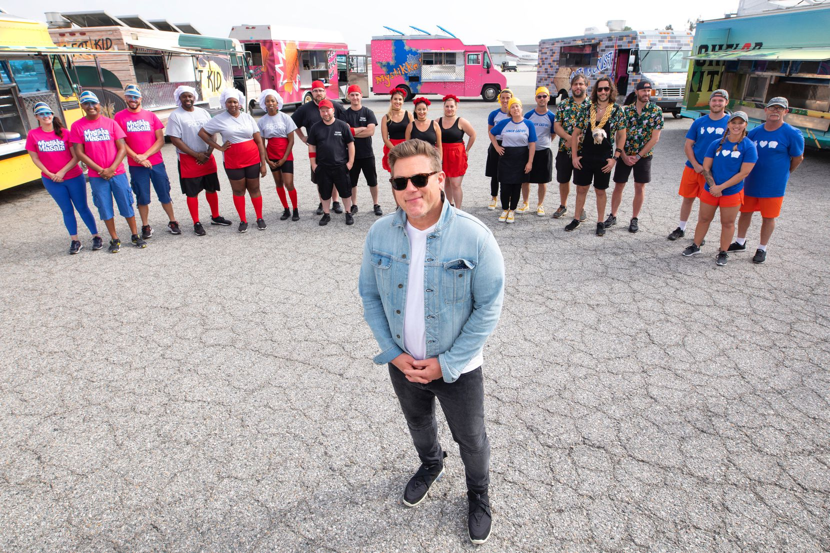 Tyler Florence hosts The Great Food Truck Race on the Food Network.