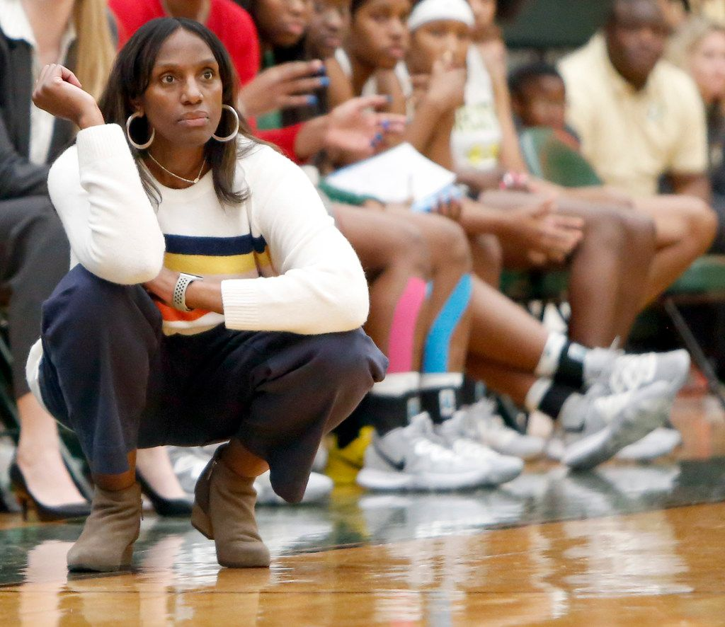 DeSoto head coach Andrea Robinson watches her team during fourth quarter action against South Grand Prairie. The two teams played their District 7-6A girls basketball game at DeSoto High School in DeSoto on January 21, 2020. (Steve Hamm/ Special Contributor)
