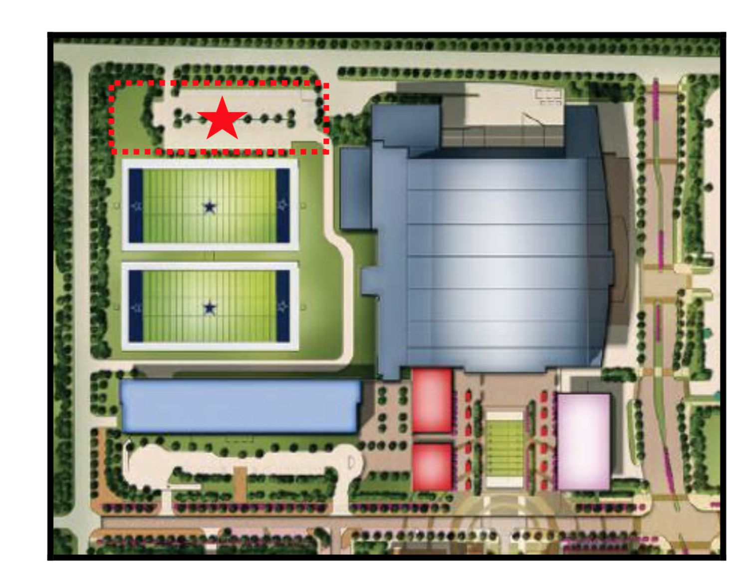 The planned office project would be constructed overlooking the Dallas Cowboy's practice fields in The Star development in Frisco.