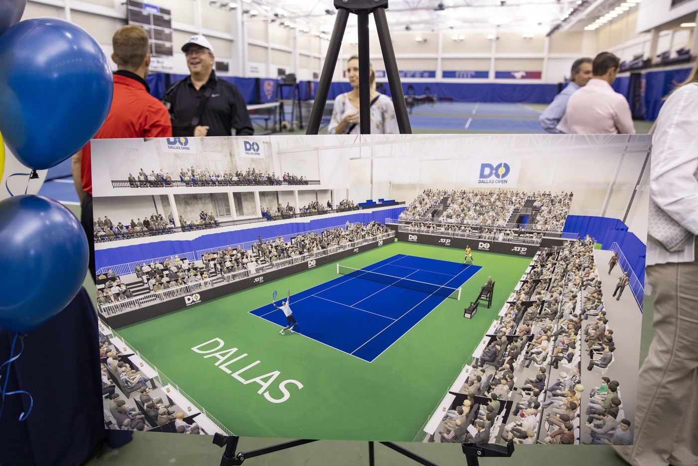 A rendering of the tennis court during a press conference to announce a new ATP tennis tour event coming to Dallas at the SMU Styslinger/Altec Tennis Complex on Wednesday, May 19, 2021, in Dallas. (Juan Figueroa/The Dallas Morning News)