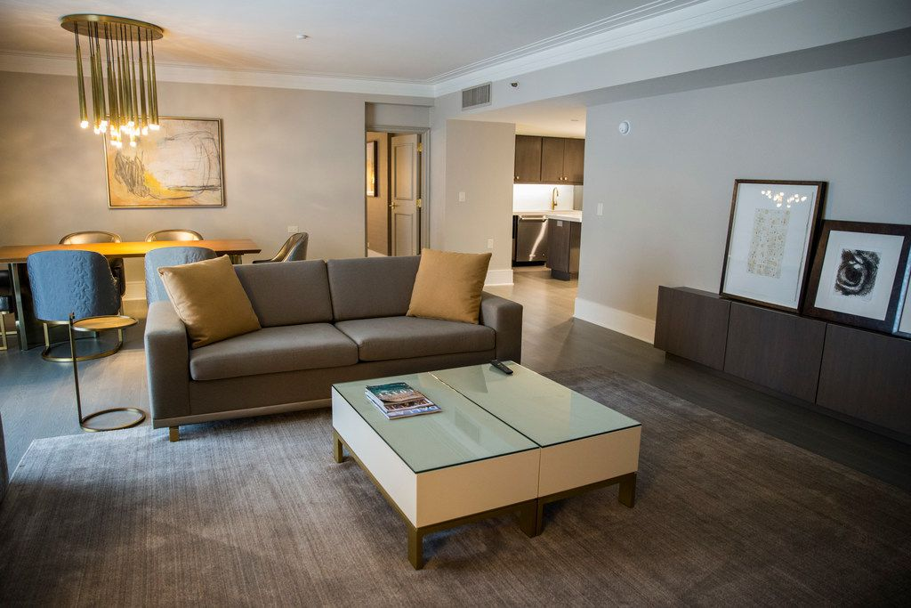 The living room in a Crescent Suite at Hotel Crescent Court in Dallas on Monday, June 18, 2018. The hotel was recently renovated. (Ashley Landis/The Dallas Morning News)