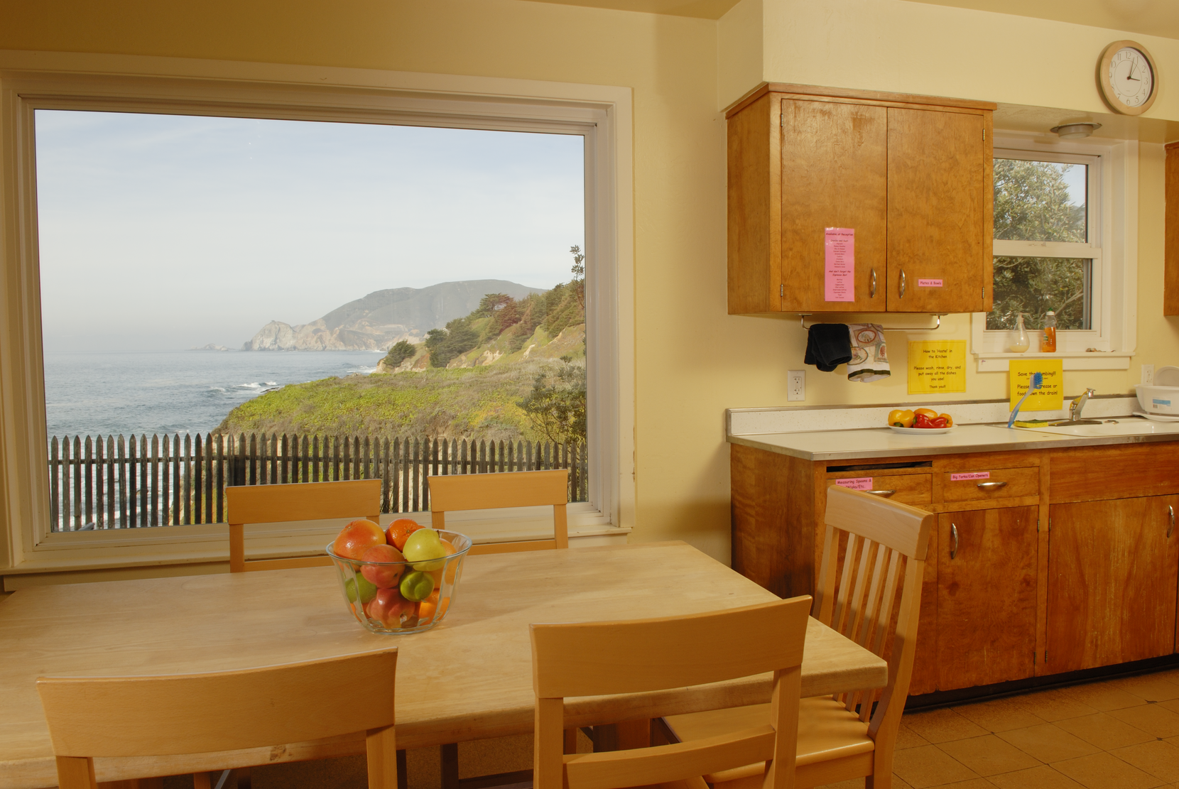 One of Point Montara's two kitchens offers views over the Pacific Ocean, where gray whales can sometimes be spotted spouting on their journey south.