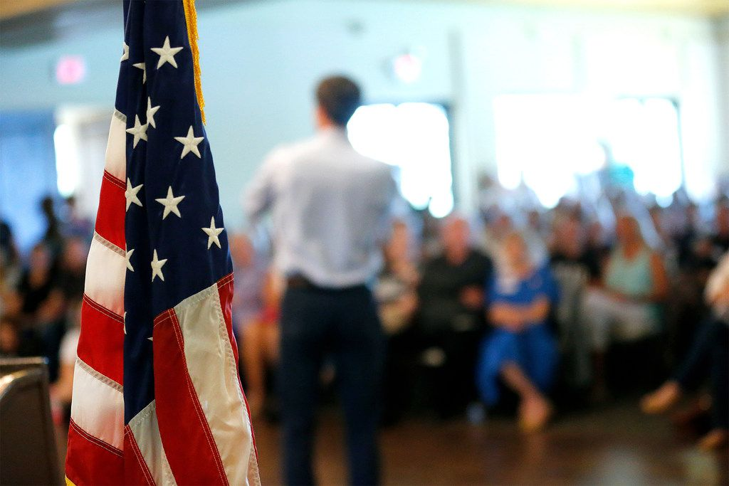 Rep Beto O'Rourke speaks during a town hall meeting at the Quail Point Lodge on Aug. 16, 2018 in Horseshoe Bay, Texas.
