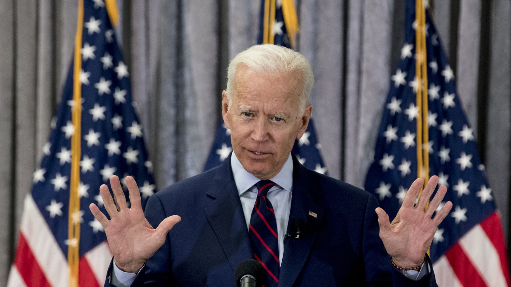 Former Vice President Joe Biden, a 2020 Democratic presidential hopeful, speaks during a town all meeting with a group of educators from the American Federation of Teachers on Tuesday, May 28, 2019, in Houston.  (Brett Coomer/Houston Chronicle via AP)