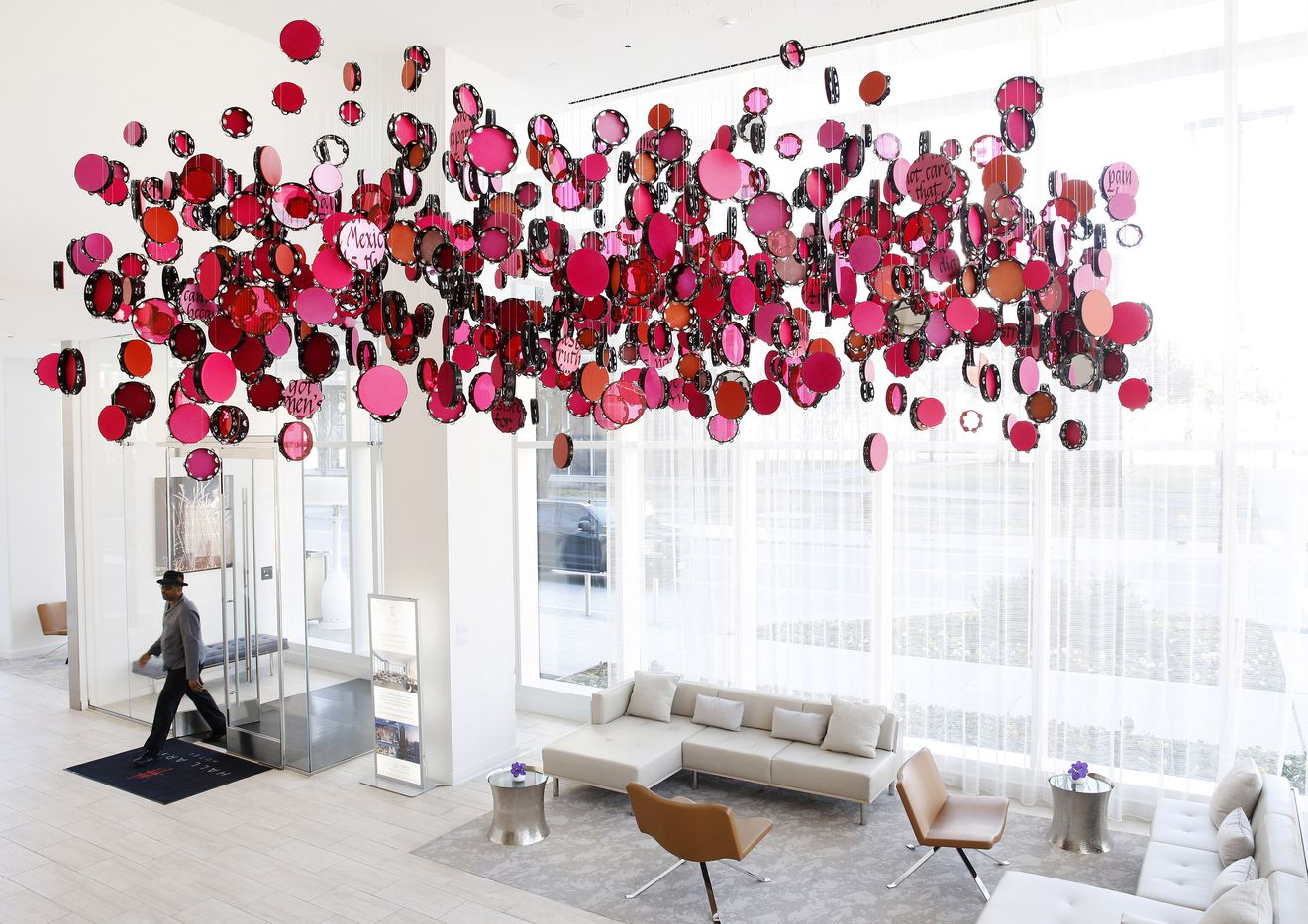 Resistance Reverb: Movements 1 is an art installation by artist Lava Thomas.  The colored Tamborine display hangs above the Hall Arts Hotel lobby in the Arts District of downtown Dallas, Friday, February 21, 2020.