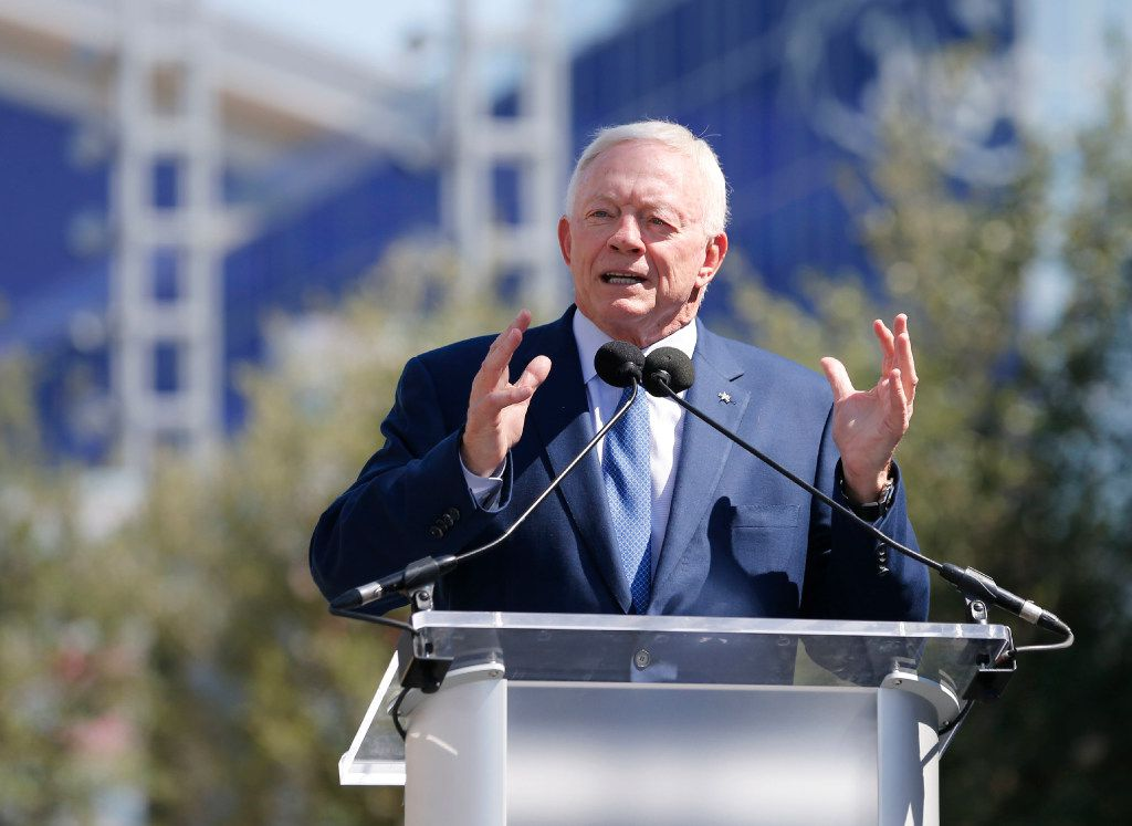 Dallas Cowboys owner and general manager Jerry Jones speaks to the crowd during the Ring of Honor Walk unveiling ceremony at The Star in Frisco on Monday, August 21, 2017. (Vernon Bryant/The Dallas Morning News)