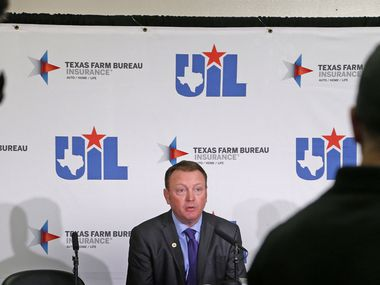 UIL deputy executive director Jamey Harrison addresses the media after the UIL boys basketball state tournament was suspended on March 12, 2020 at the Alamodome in San Antonio.