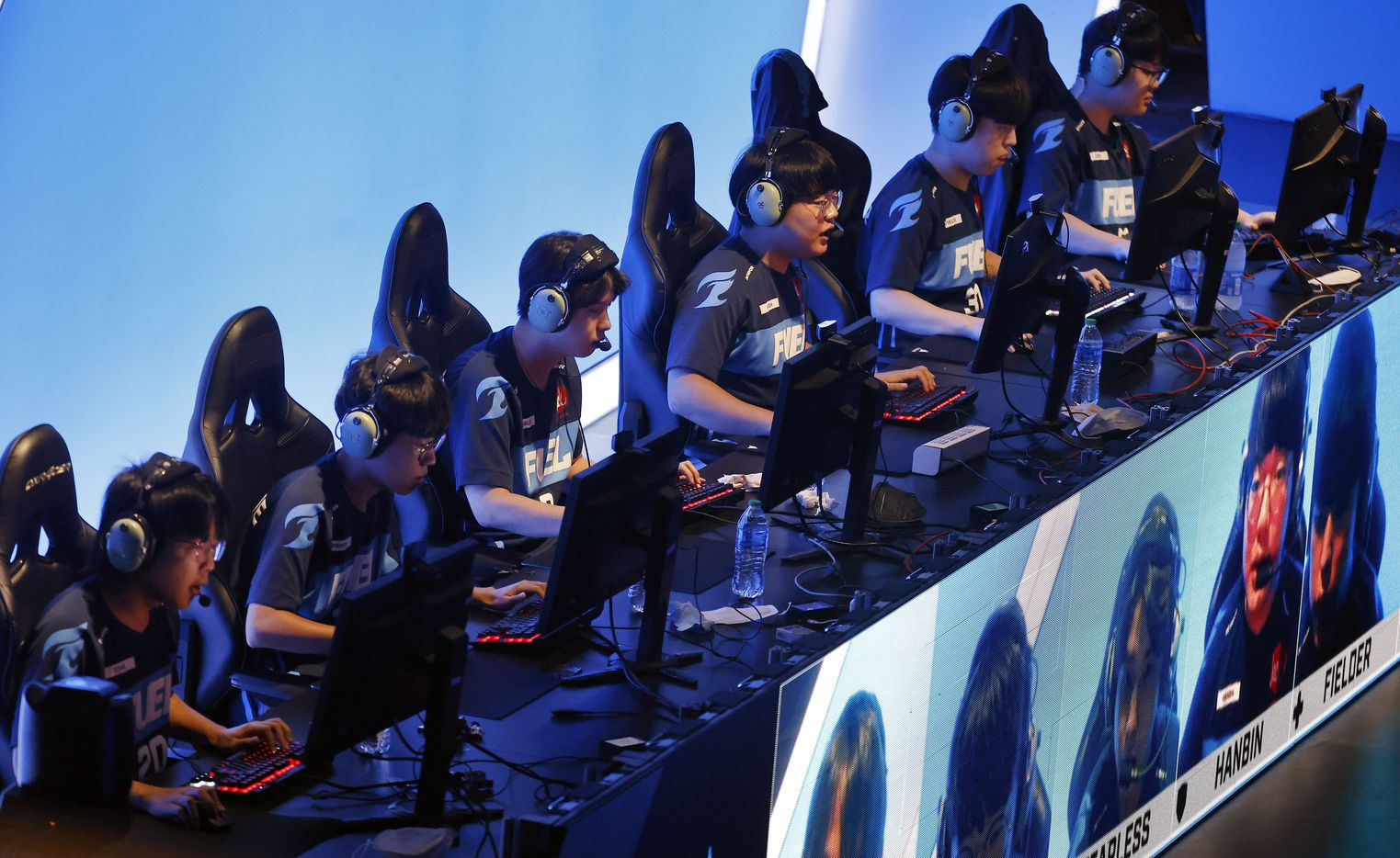 The Dallas Fuel team competes against the Houston Outlaws in their Overwatch League match at Esports Stadium Arlington Friday, July 9, 2021. Dallas Fuel defeated Houston in The Battle for Texas, 3-0. It was the first in-person live competition for fans in over a year. Houston competed from their hometown. (Tom Fox/The Dallas Morning News)