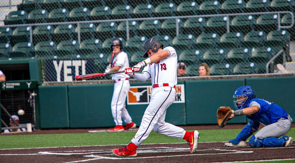 Argyle's designated hitter junior Bo Hogeboom (13) swings the bat during their game with La Vernia at their 4A UIL baseball state semifinals game at UFCU Disch-Falk Field on June 5, 2019 in Austin, Texas. (Thao Nguyen/Special Contributor)
