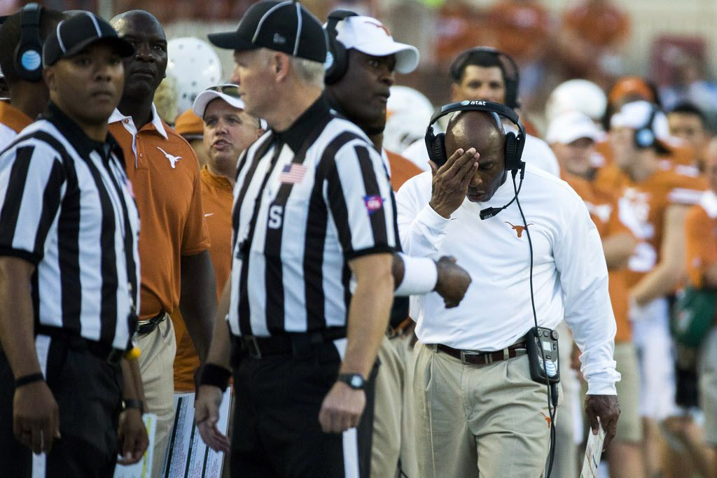 Texas head coach Charlie Strong reacts after safety Dylan Haines was ejected from the game for a targeting penalty on a hit against California tight end Stephen Anderson during the first quarter of an NCAA football game at Royal Memorial Stadium on Saturday, Sept. 19, 2015, in Austin. (Smiley N. Pool/The Dallas Morning News) 09202015xPUB