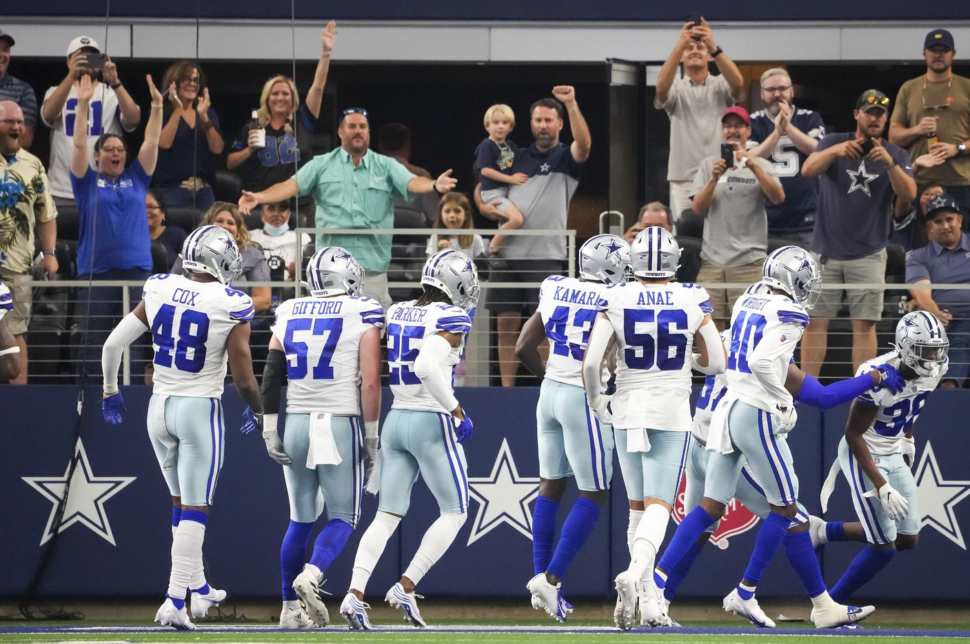 Dallas Cowboys cornerback Israel Mukuamu (38) celebrates after intercepting a pass during the first half of a preseason NFL football game against the Jacksonville Jaguars at AT&T Stadium on Sunday, Aug. 29, 2021, in Arlington. (Smiley N. Pool/The Dallas Morning News)