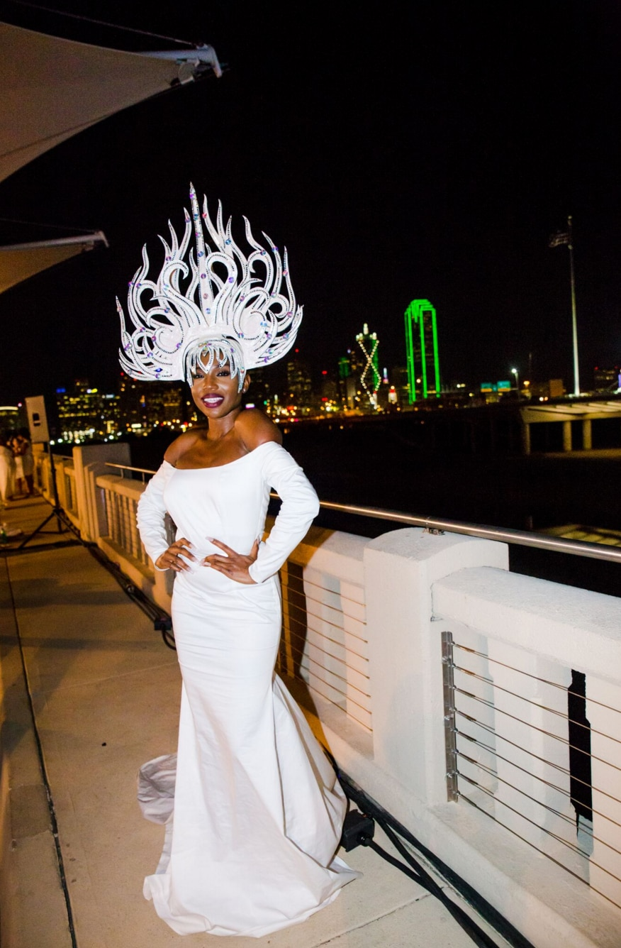 """Some attendees to the 2015 Diner en Blanc wore ball gowns. Sai Sankoh went all out with a white headdress, too. """"She looked like she belonged on a runway,"""" said event organizer Karen Raehpour."""