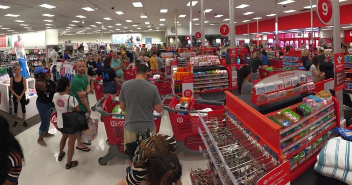 The system glitch clogged checkout aisles at the Cityplace Target in Dallas on Saturday..
