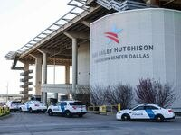 Federal Protective Service Police arrive to the Kay Bailey Hutchison Convention Center in Dallas, March 17, 2021. The  convention center serves as an emergency intake site to hold teens who have arrived at the U.S.-Mexico border to decrease overcrowding at Customs and Border Protection facilities. (Lola Gomez/The Dallas Morning News)