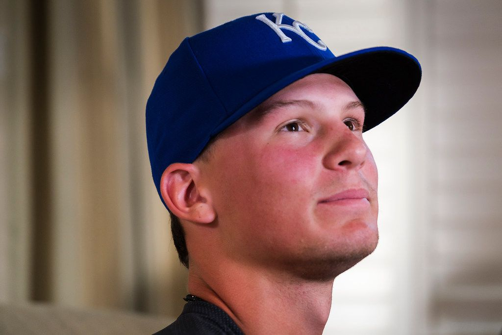 Bobby Witt Jr. wears a Kansas City Royals hat as he is interviewd during a Major League Baseball draft night watch party at his home on Monday, June 3, 2019, in Colleyville, Texas. Witt, a Colleyville Heritage player who is the son of former Texas Rangers pitcher Bobby Witt, was selected second by the Royals. (Smiley N. Pool/The Dallas Morning News)