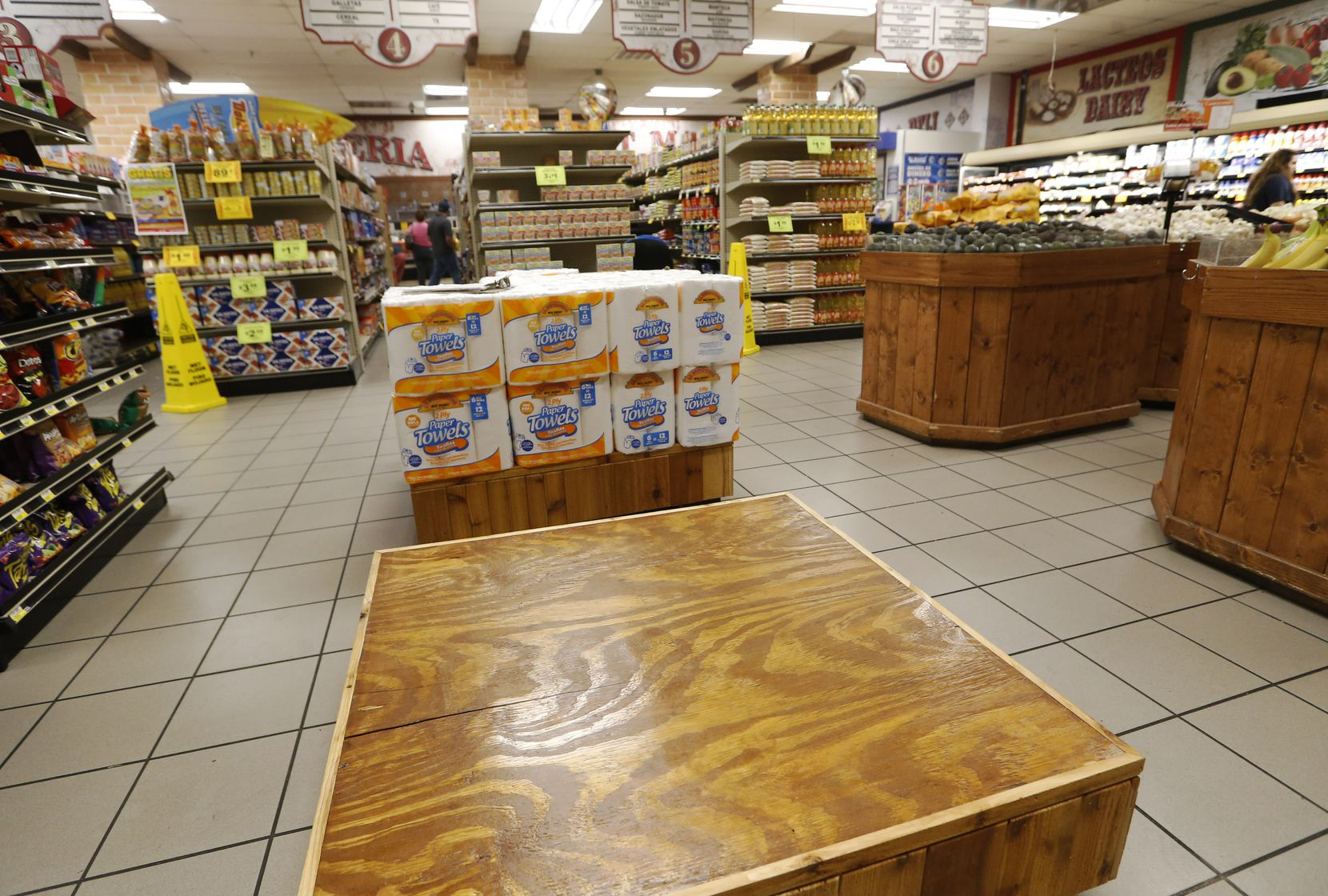 Where bottled water once sat in plentiful supply, only a bare countertop remained at La Michoacana Meat Market near the Bishop Arts District in north Oak Cliff on Saturday.