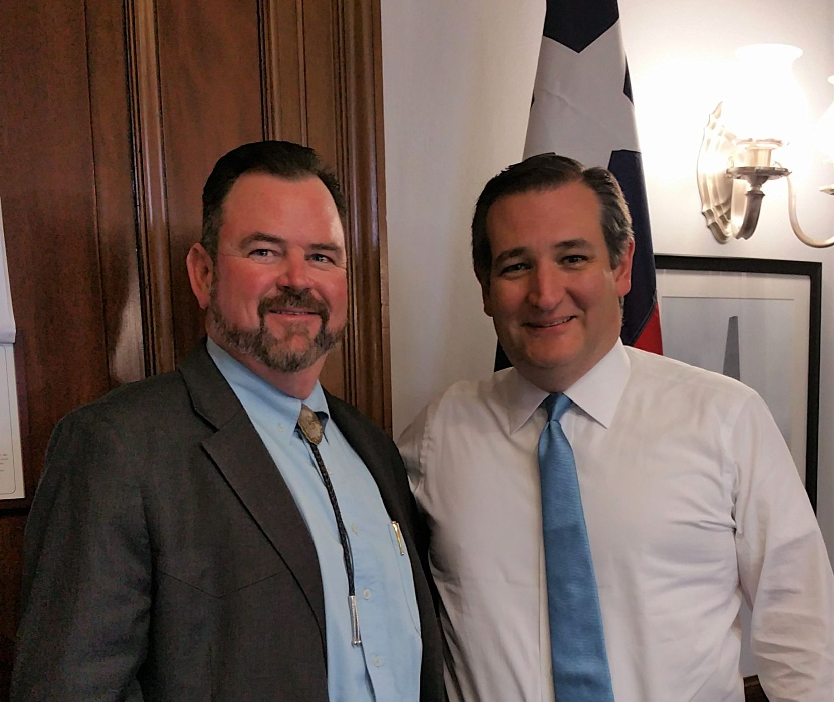 West Texas pecan grower Kevin Ivey (left), president of the U.S. Pecan Growers Council, met last spring in Washington with Texas Sen. Ted Cruz to make the case that India needs to lower its pecan tariff.