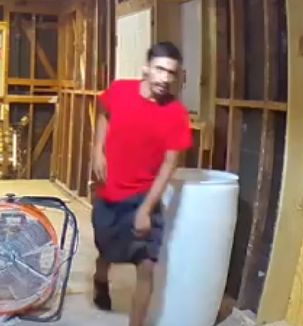 Police are searching for a man suspected of breaking into a house under construction in the 3500 block of Bolivar Drive.