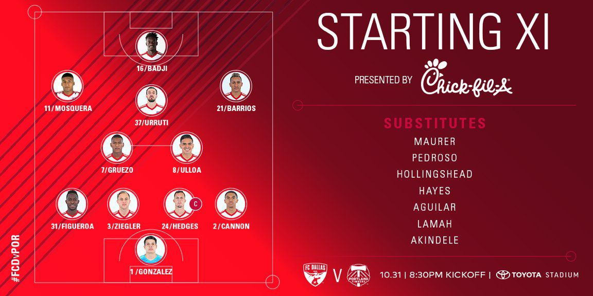 FC Dallas starting XI vs Portland Timbers in the knockout game. (10-31-18)