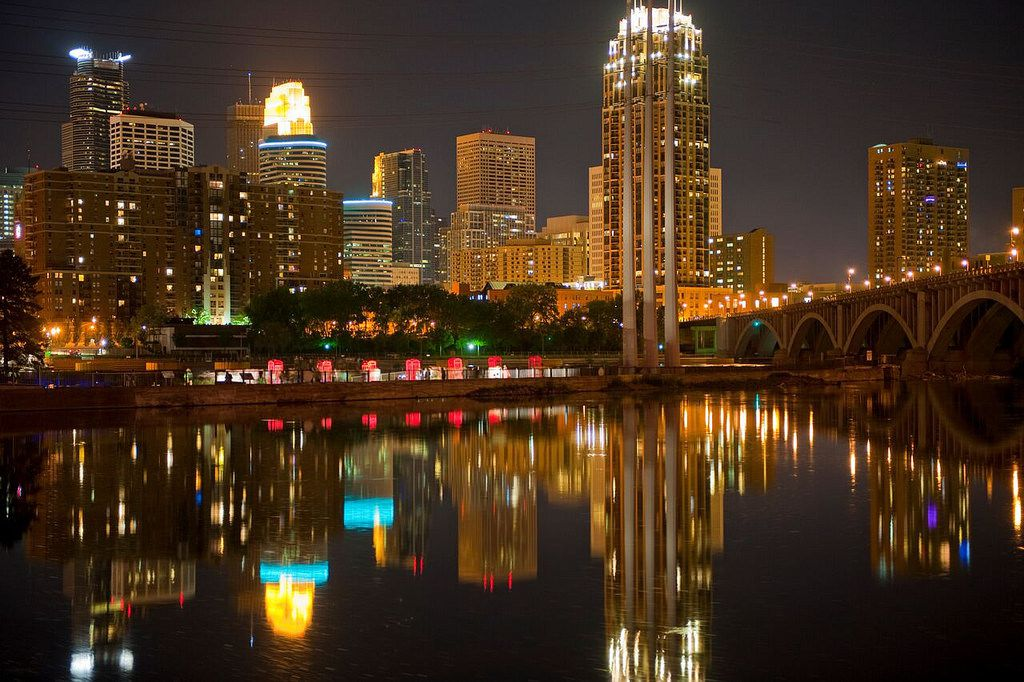 The Minneapolis skyline shines at night.
