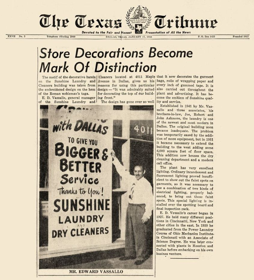 A story in the Jan. 17, 1953, Texas Tribune explains that the sunshine motif was inspired by the embroidered design on the hem of a Roman nobleman's toga.