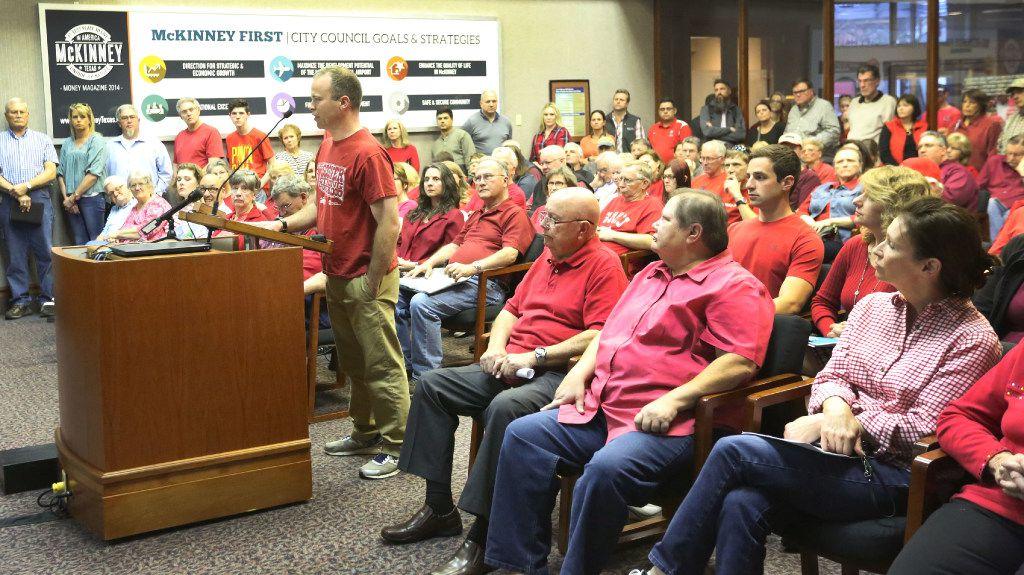 Collin County resident Matthew Weyenberg speaks to the McKinney City Council about improvements to U.S. Highway 380 that could impact his property.