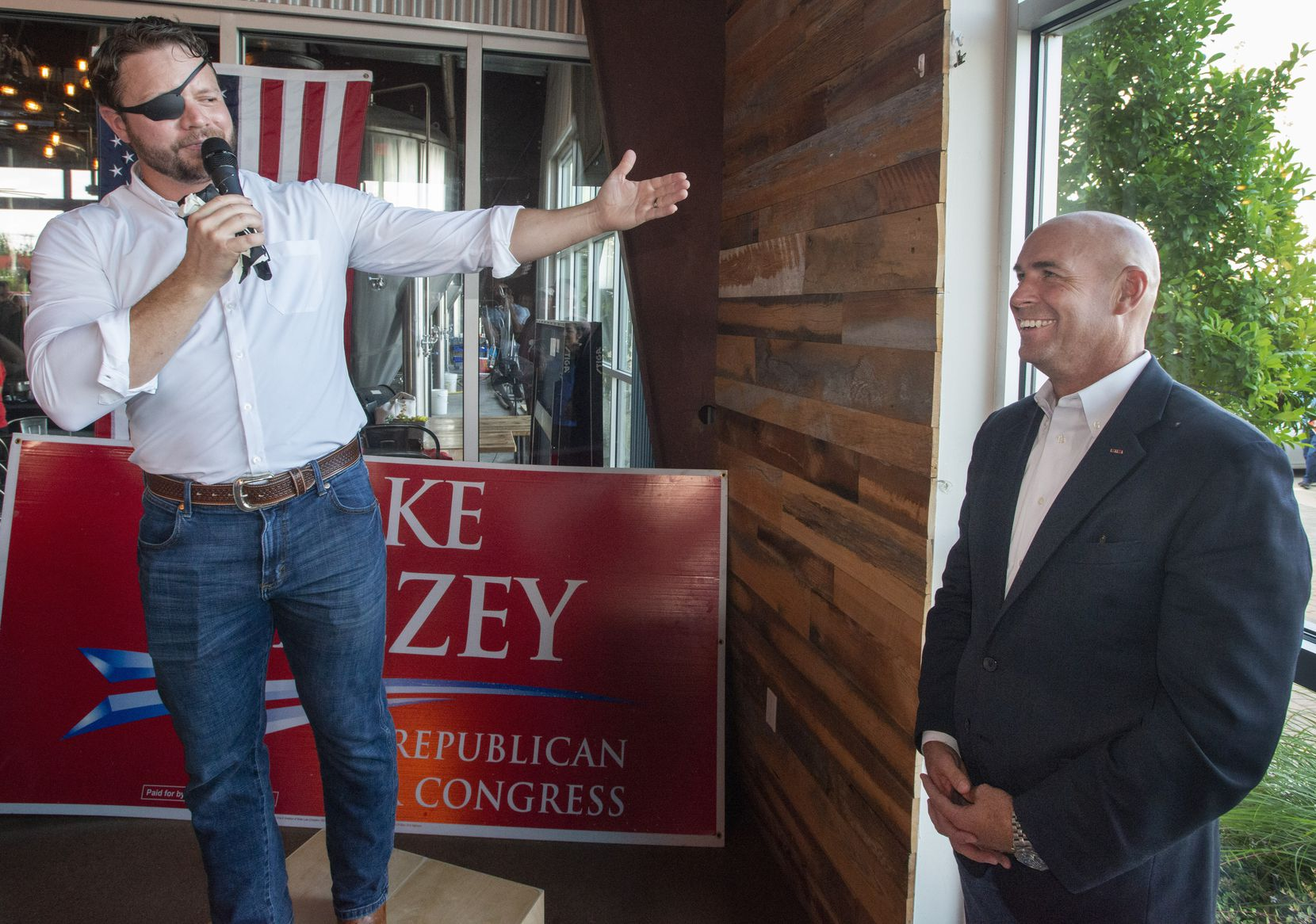 United States Representative for Texas' 2nd congresional district Dan Crenshaw speaks about Congressional District 6 candidate Jake Ellzey during an evening fundraiser at Legal Draft in Arlington, Texas on July 14,, 2021. (Robert W. Hart/Special Contributor)